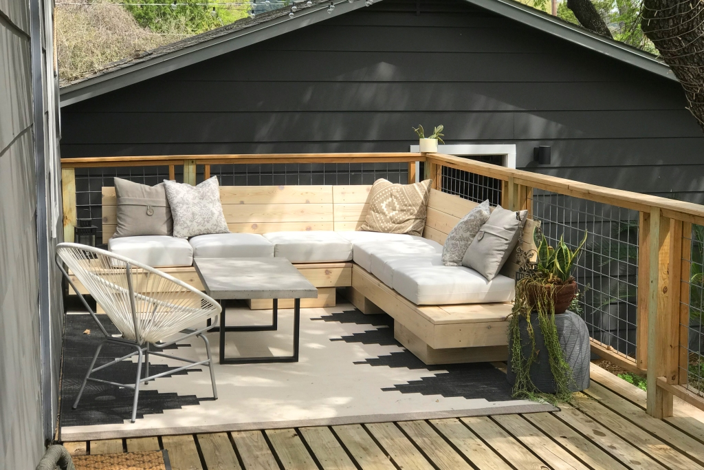 New deck maintenance with new sectional and cable rails