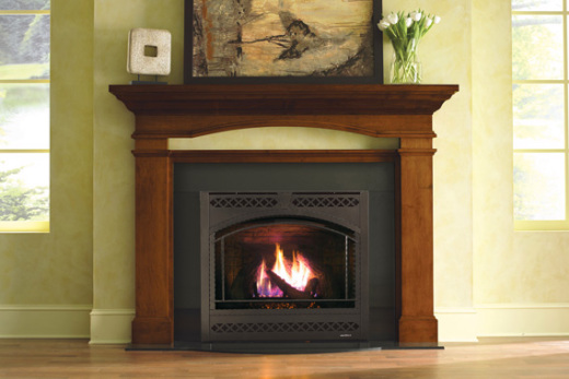 Direct-vent fireplace in house
