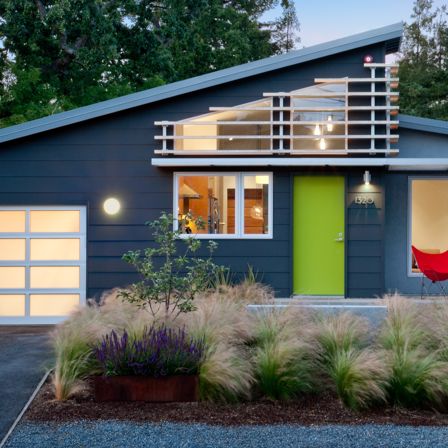 Home with well-designed exterior lighting