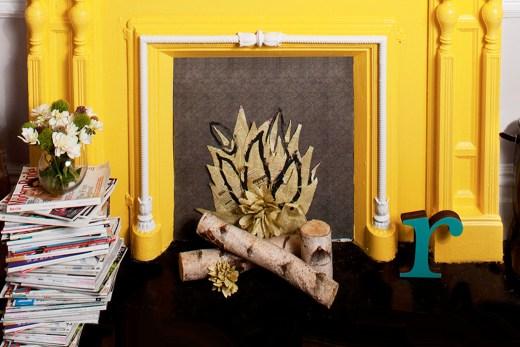 Bright yellow fireplace