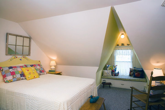Window seat in attic bedroom   Attic remodel
