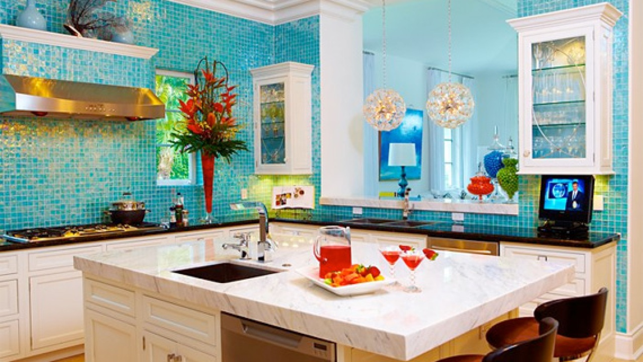 Colorful Gl Tiles Wild Kitchen Colors Pictures