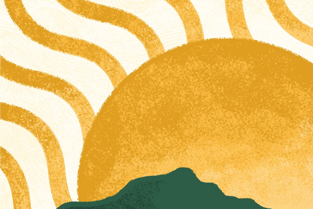 Illustration of the sun over green hills
