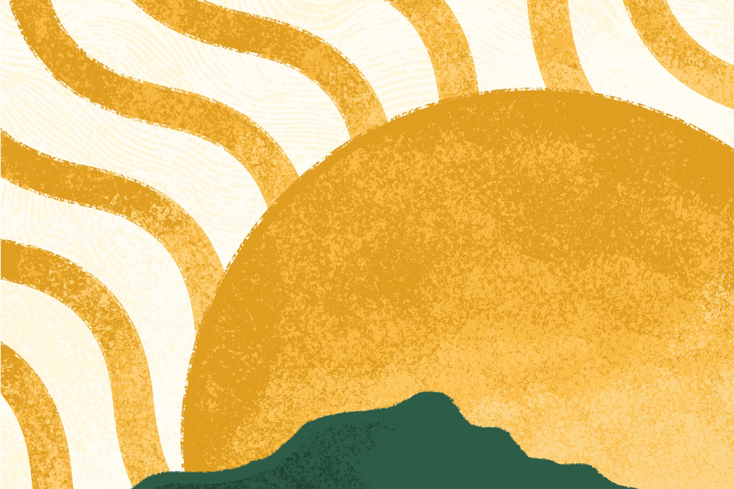 Illustration of the sun over green hills