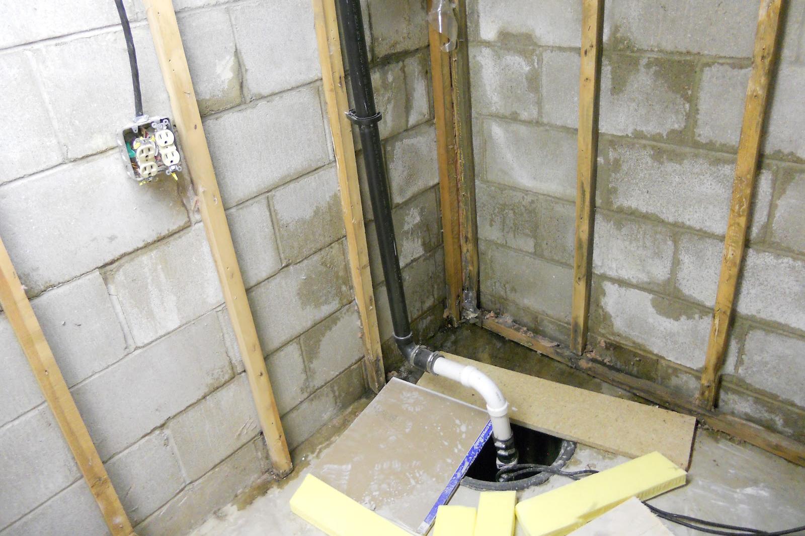 Sump pump in a residential basement
