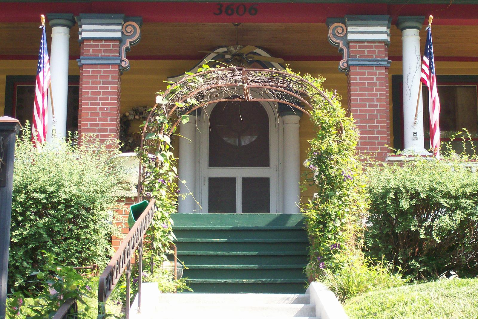 Arbor in front of front door