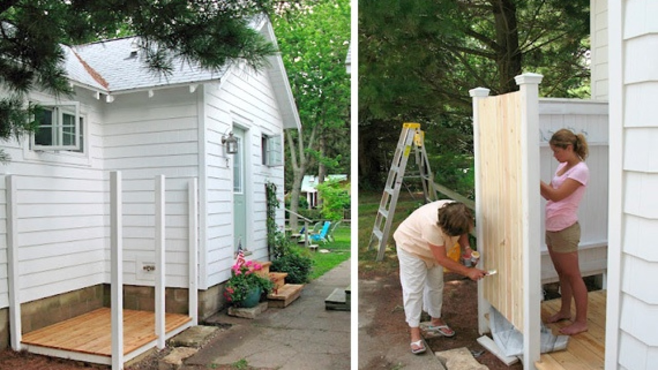 Painting A Diy Outside Shower Outdoor Ideas