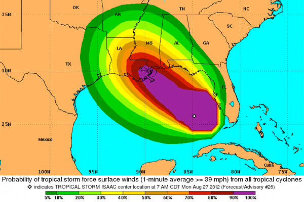 NOAA's Tropical Storm Force Wind Speed Probabilities map