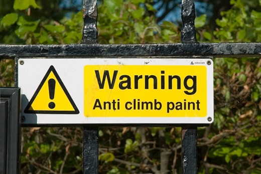 A sign for anti-climb paint