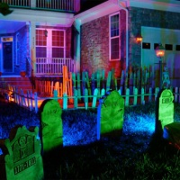 Graveyard, CFL Floodlights | Outdoor Halloween Decorations