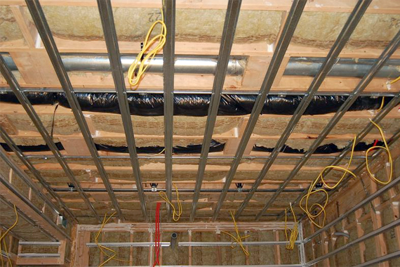 A ceiling during the soundproofing process