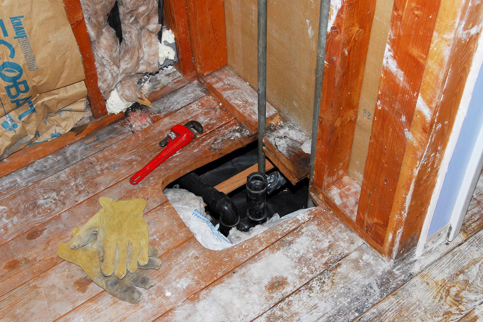 Hole in floor causing an air leak
