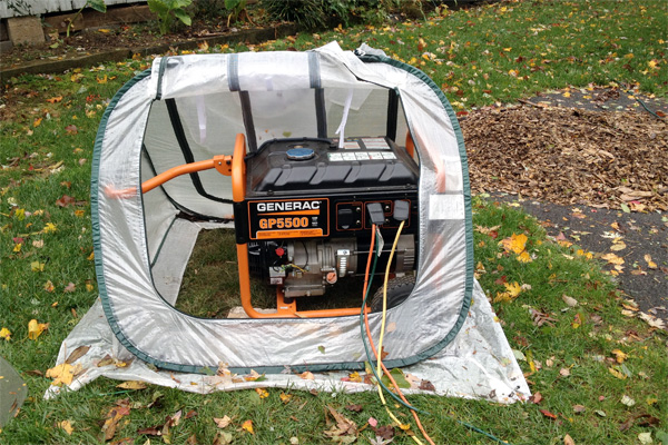 Lisa's portable generator in a temporary housing