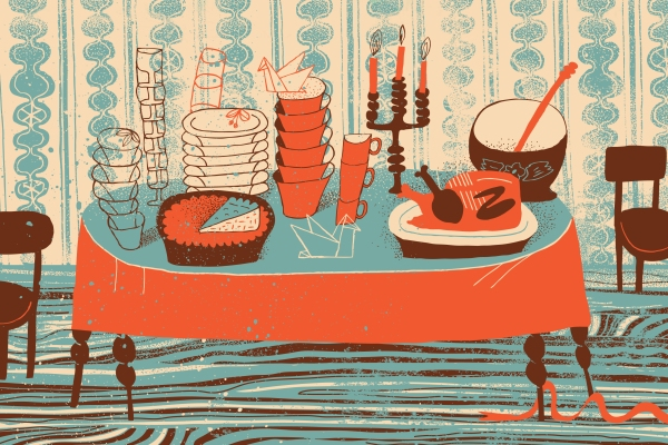 Illustration of Thanksgiving table with pie and turkey