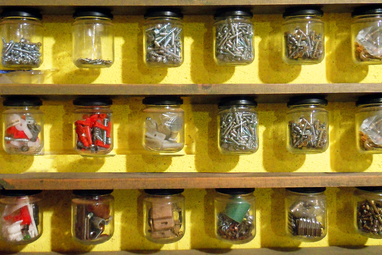 Garage organization with recycled baby food jars