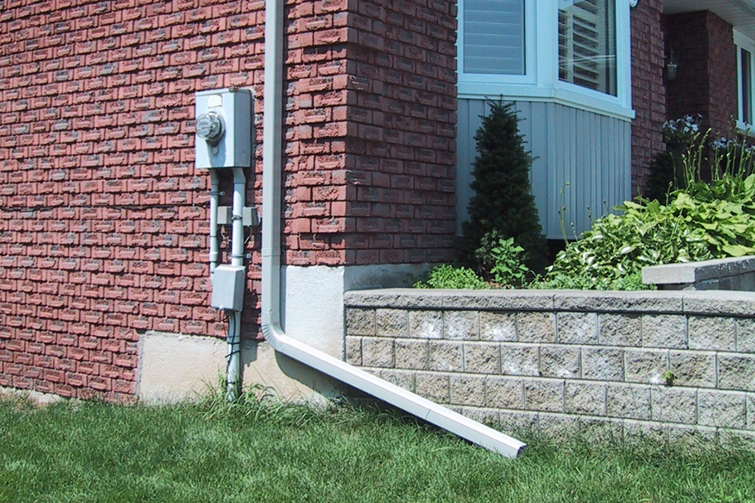A downspout pointed away from a home