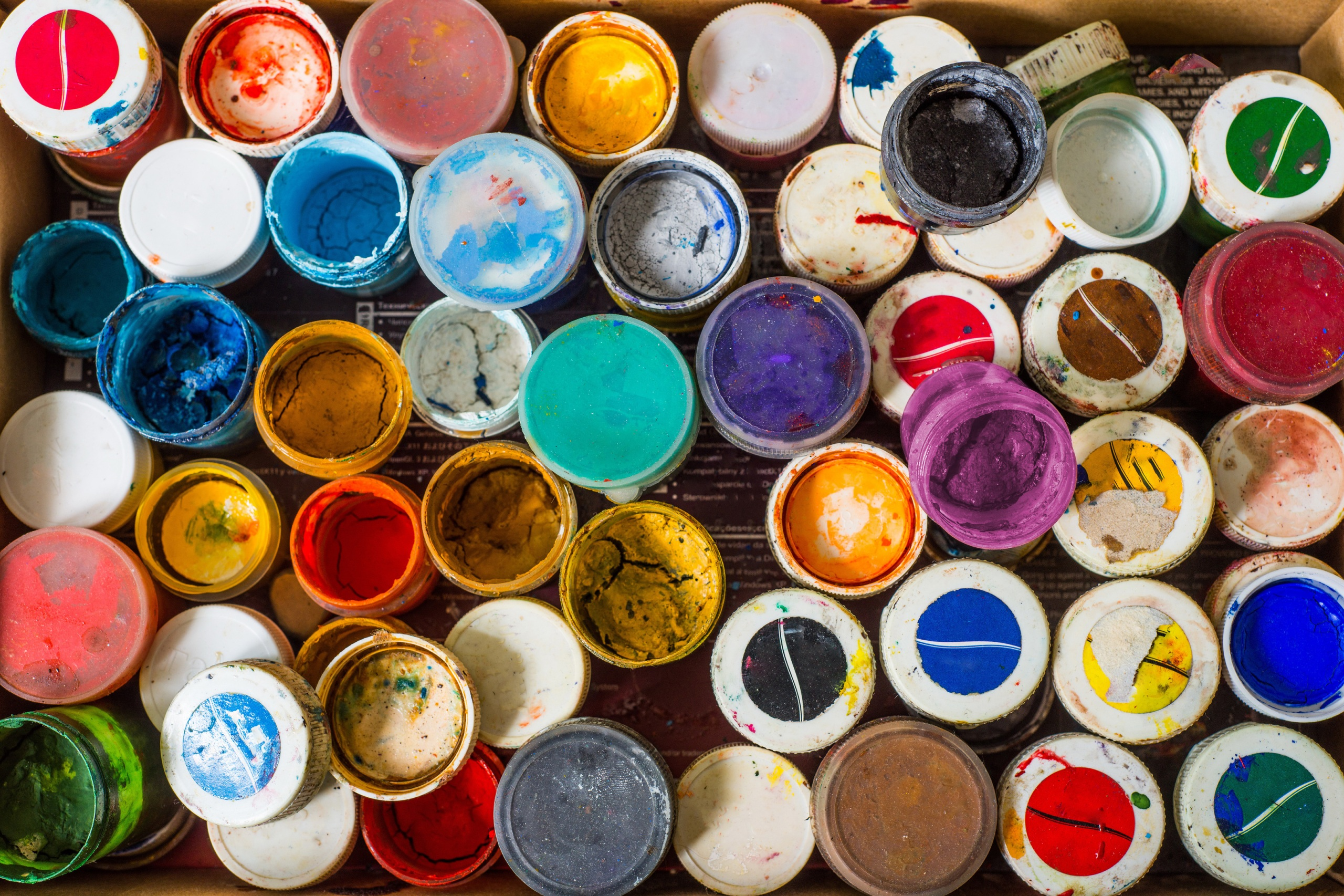Rainbow of paint cans