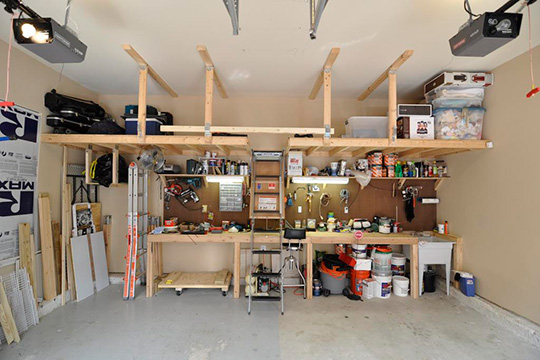 Wooden workbench in garage