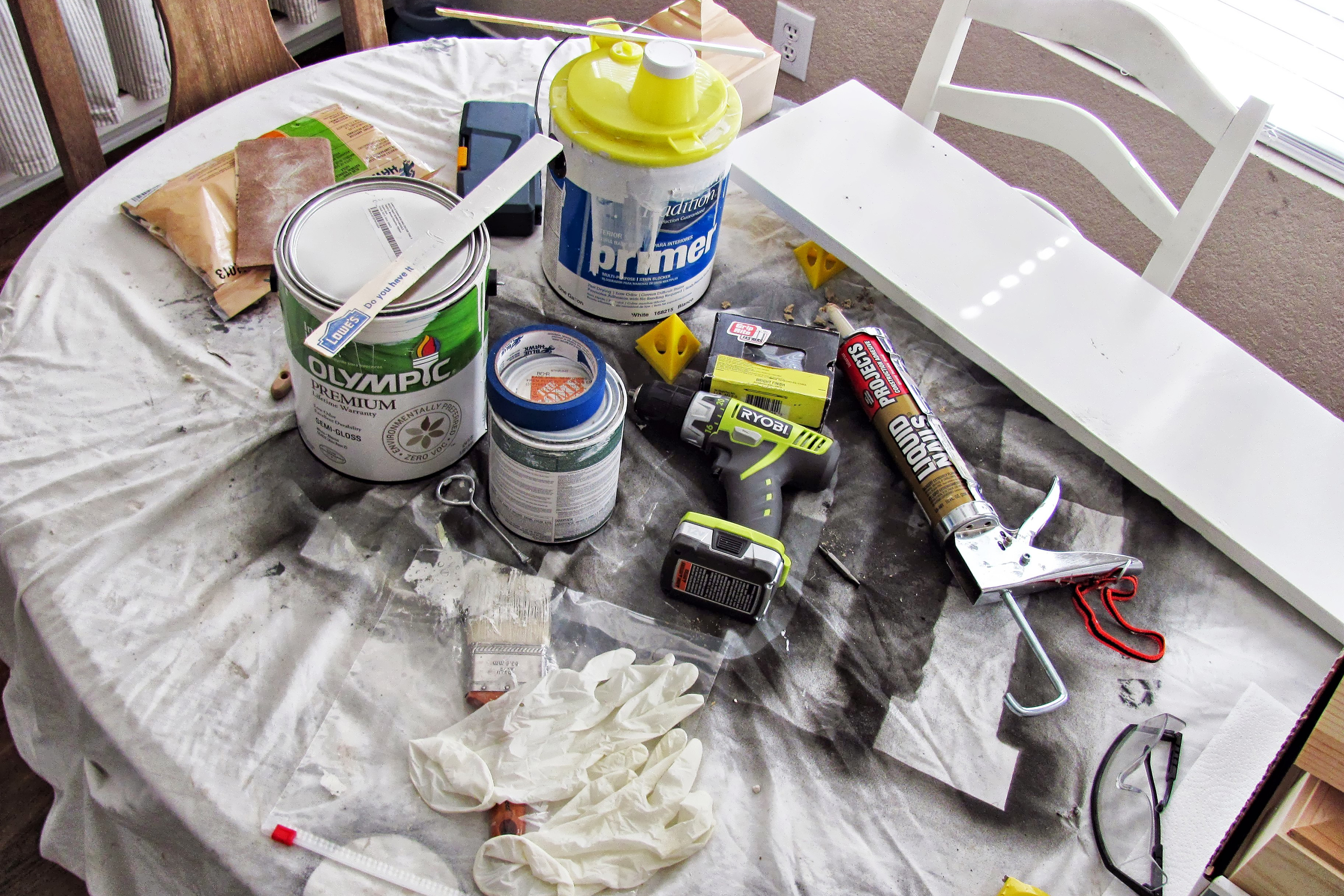 Caulk and other home maintenance products on a table