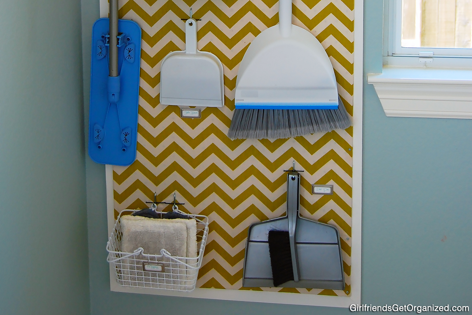 A now-organized and attractive laundry room pegboard