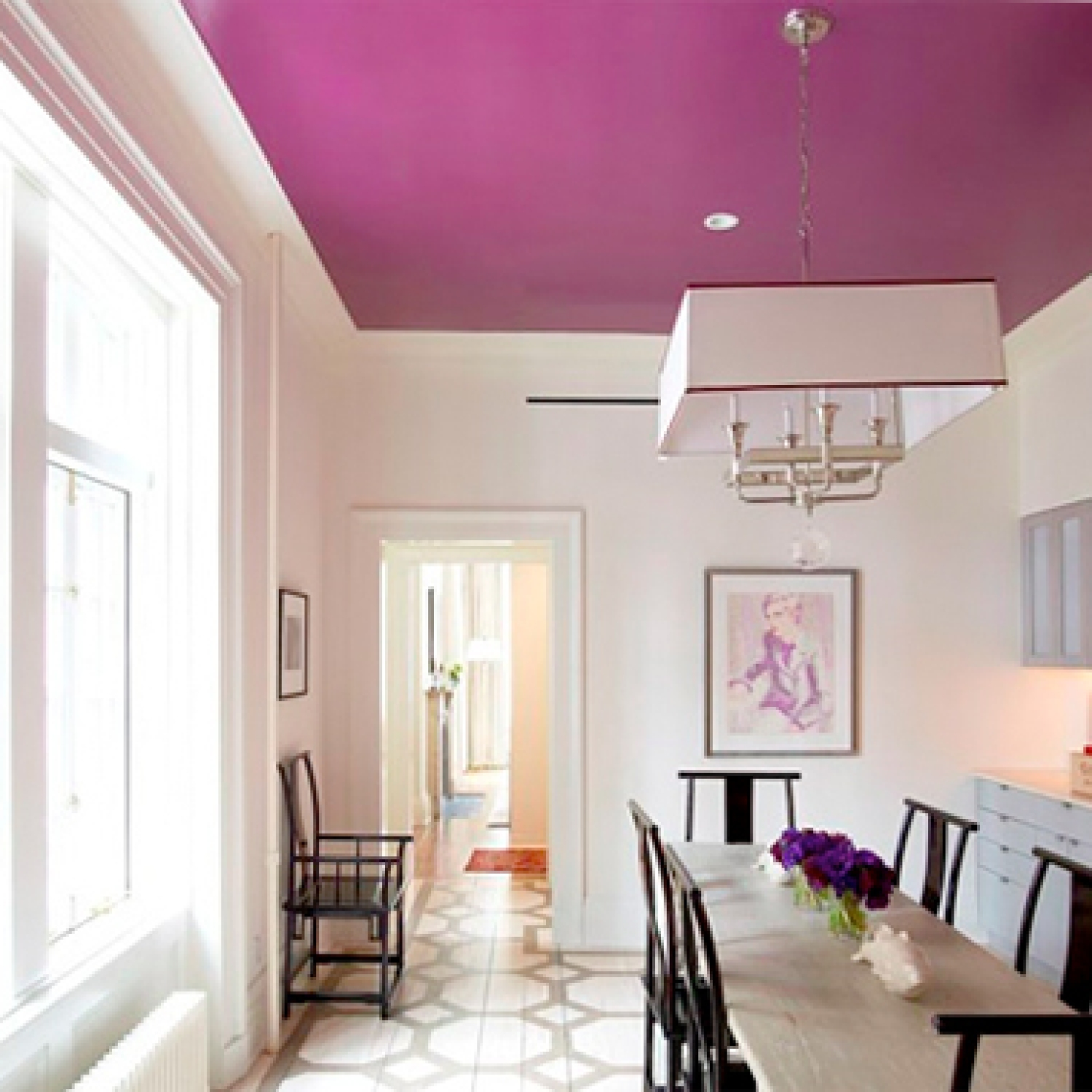 Purple Ceiling in Dining Room | Home Color Ideas