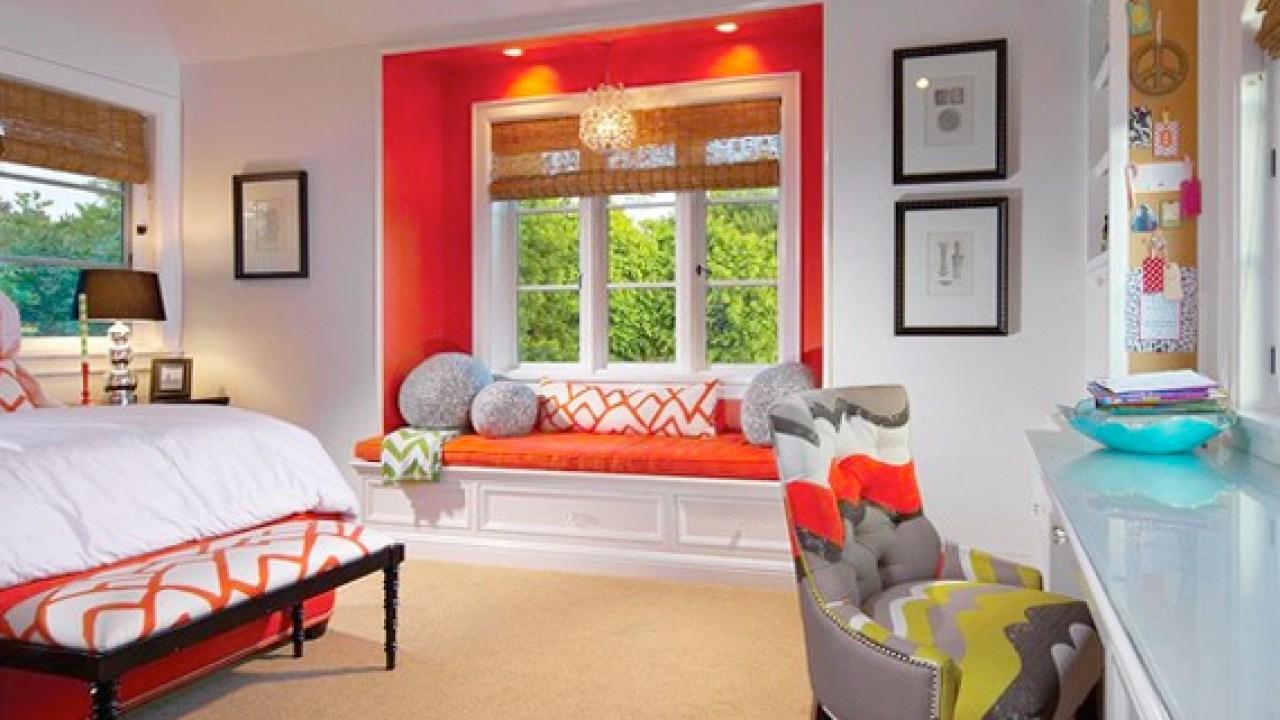 Orange Painted Window Seat Alcove Home Color Ideas