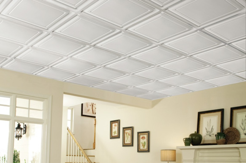 Coffered ceiling tiles in basement