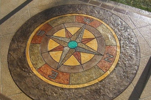 Stamped concrete patio compass