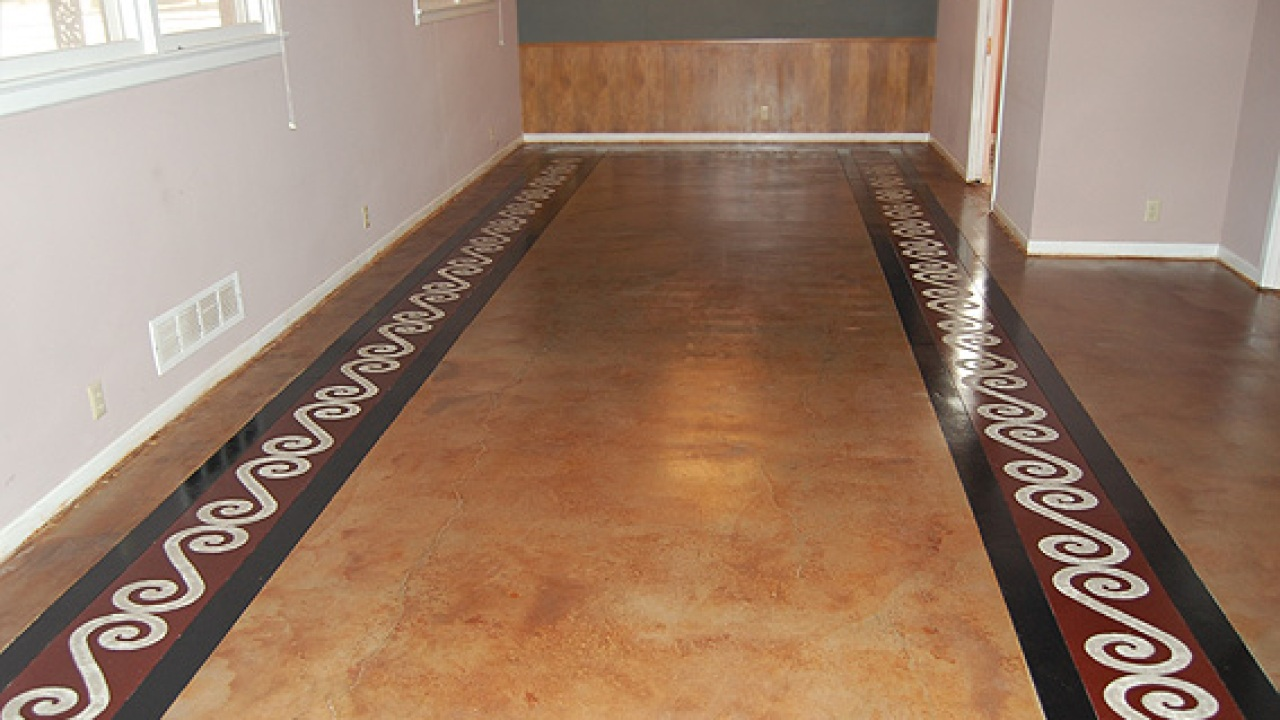 Floor With Engraved Design Painted Concrete Floors