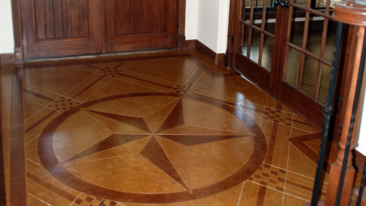 Concrete Floor With Star Design Painted Floors