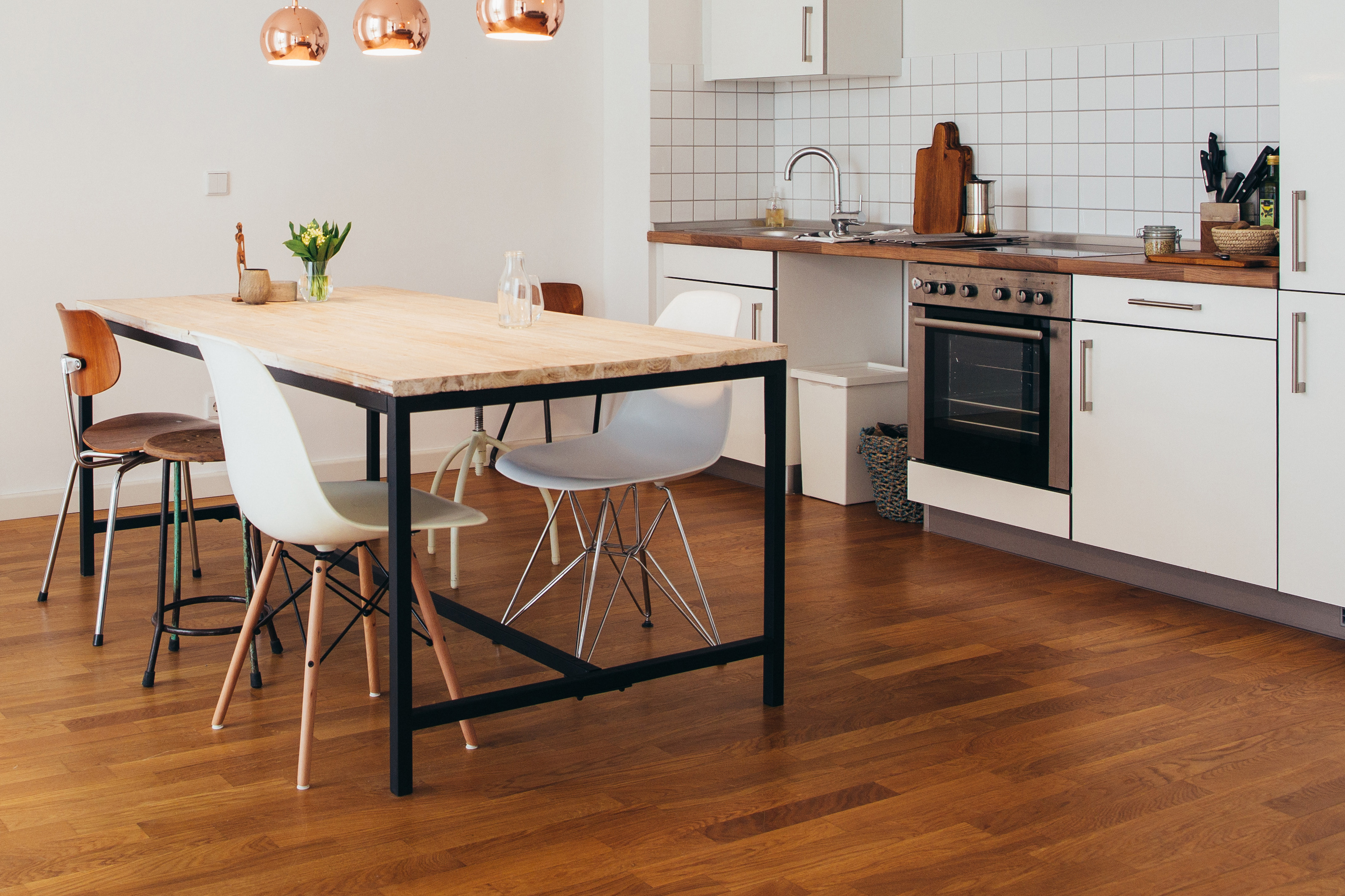 Modern kitchen with wood floors