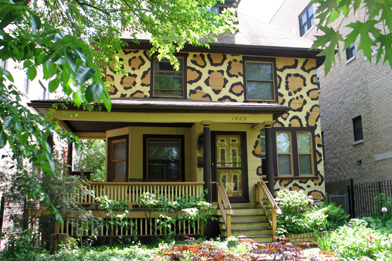 Leopard Print Painted Home, Chicago | Exterior House Colors