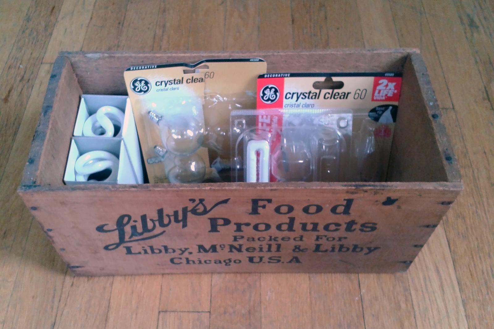 Assortment of light bulbs in a box