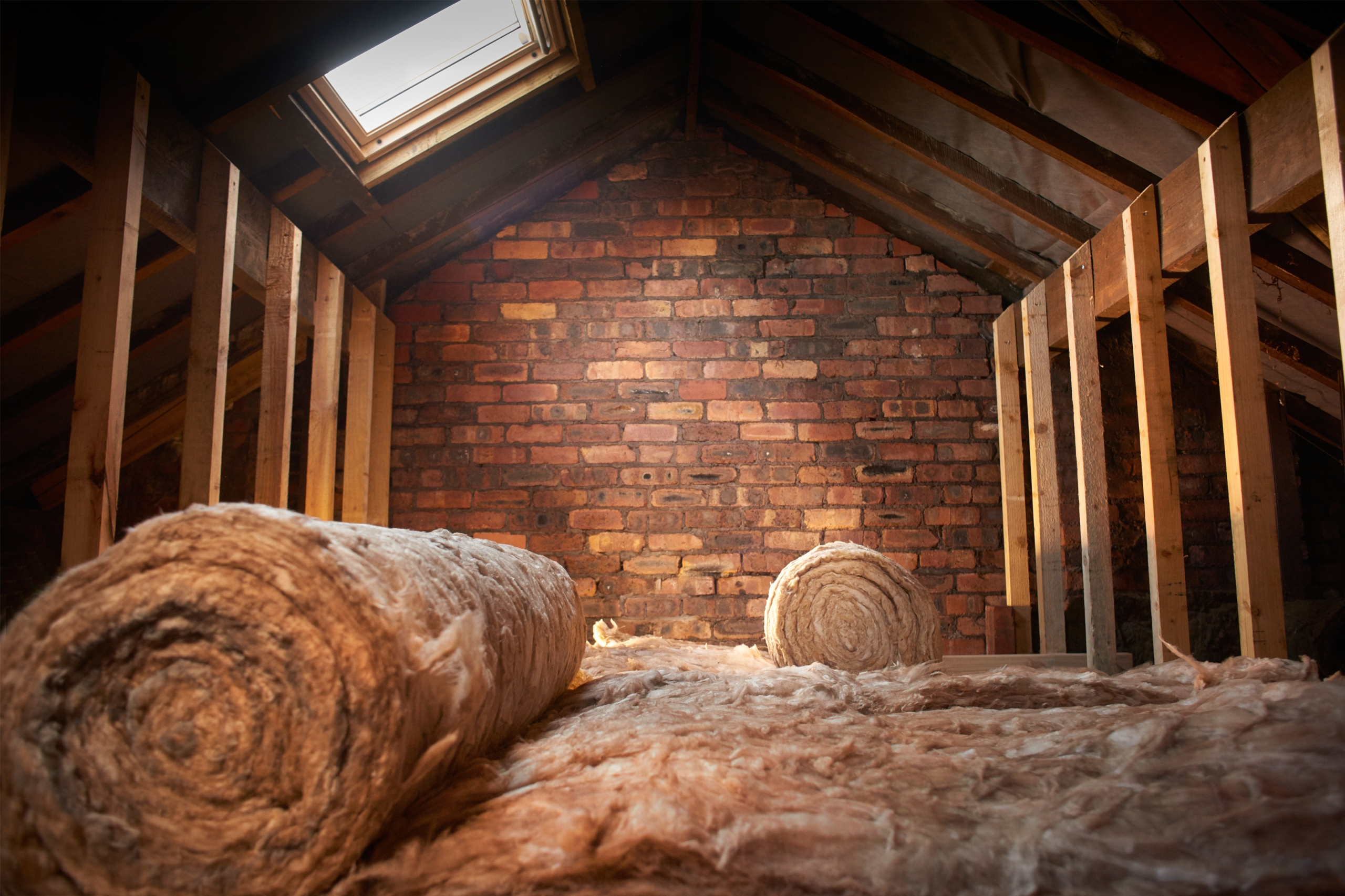 Roll of insulation in a home attic