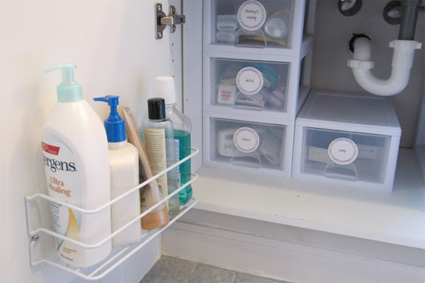 Under Sink Storage | Wire Rack on Door Under Bathroom Sink