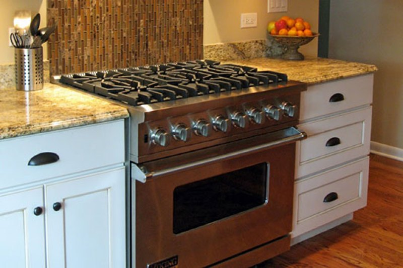 Luxury six-burner stove in a home kitchen