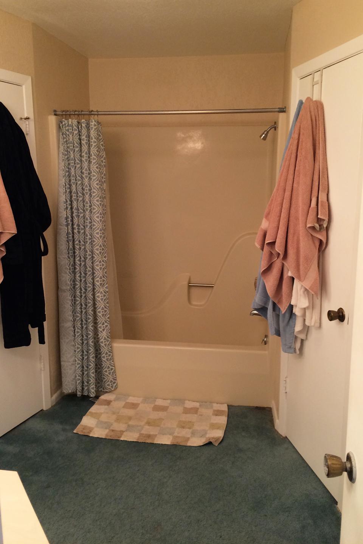 A dark teal carpeted bathroom with beige walls