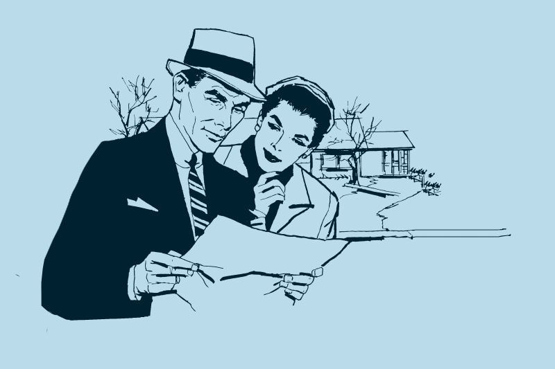 Retro couple reviewing mortgage before home closing