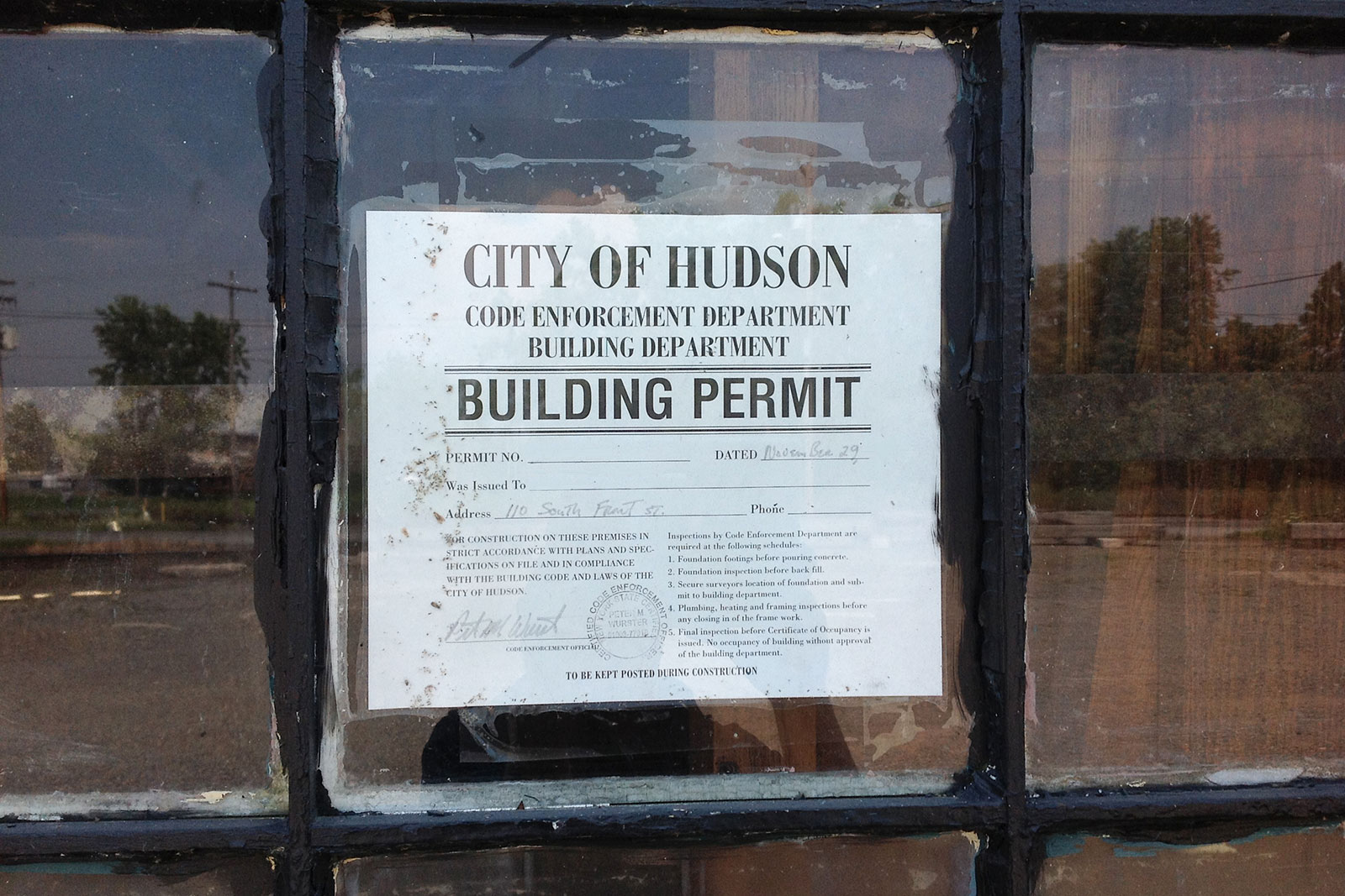 Permit posted outside of a residential construction area