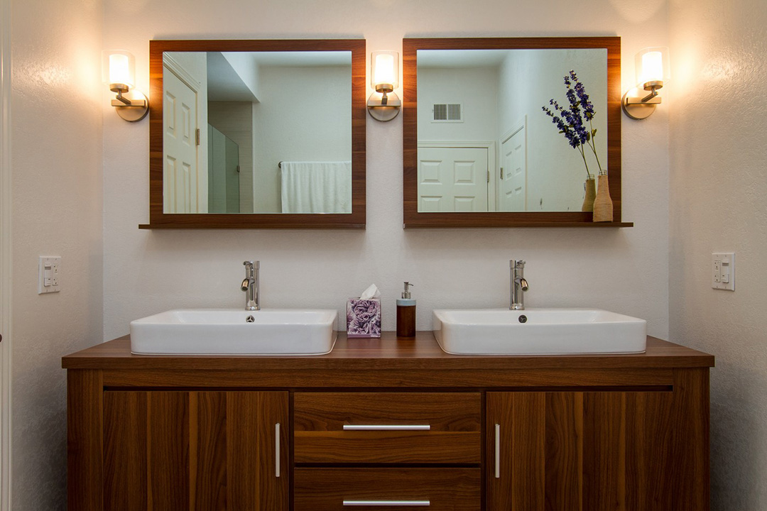 Double Bath Vanity and Sconces | Bath Vanities and Cabinets
