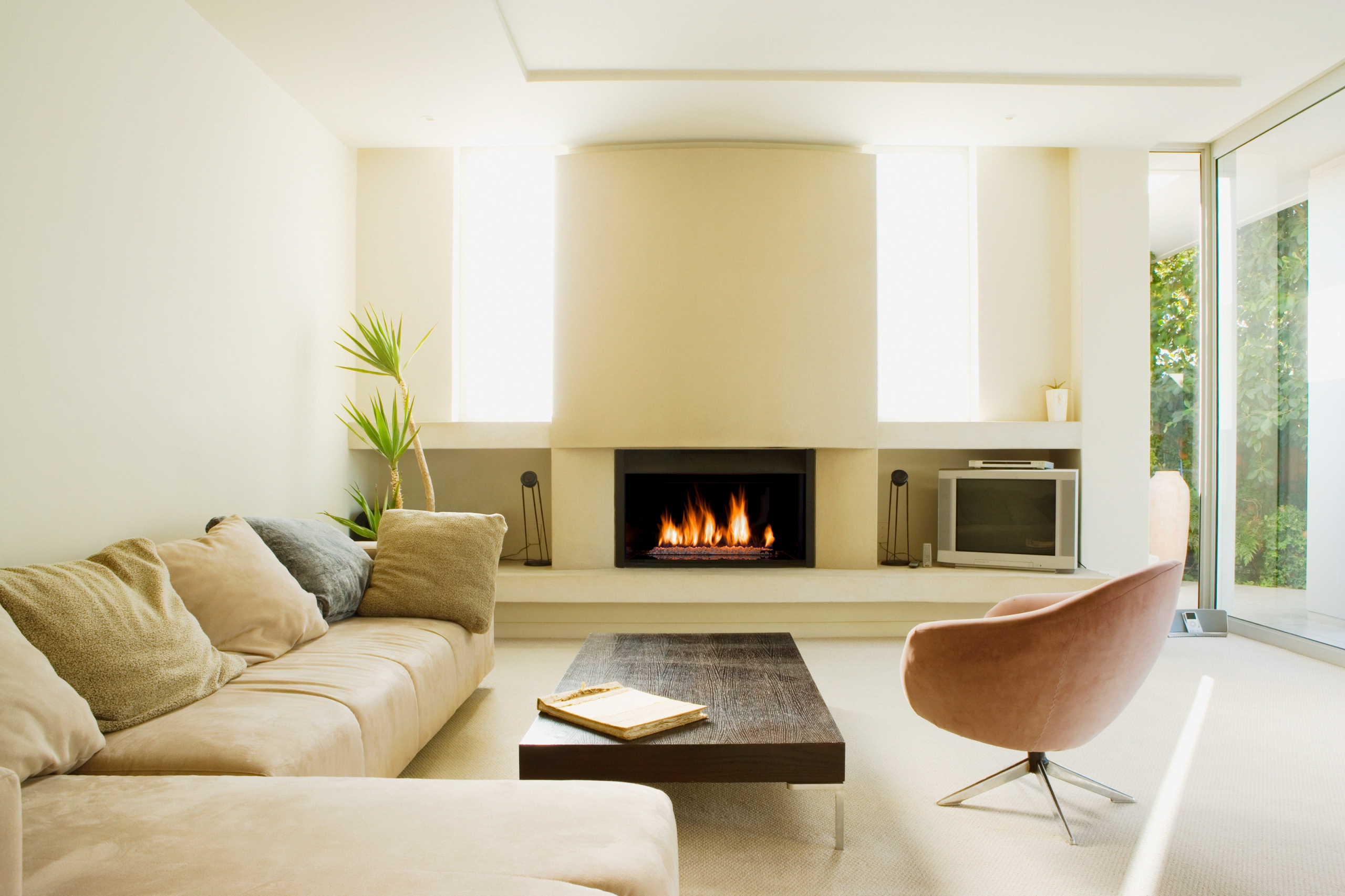 Gas fireplace in a modern home