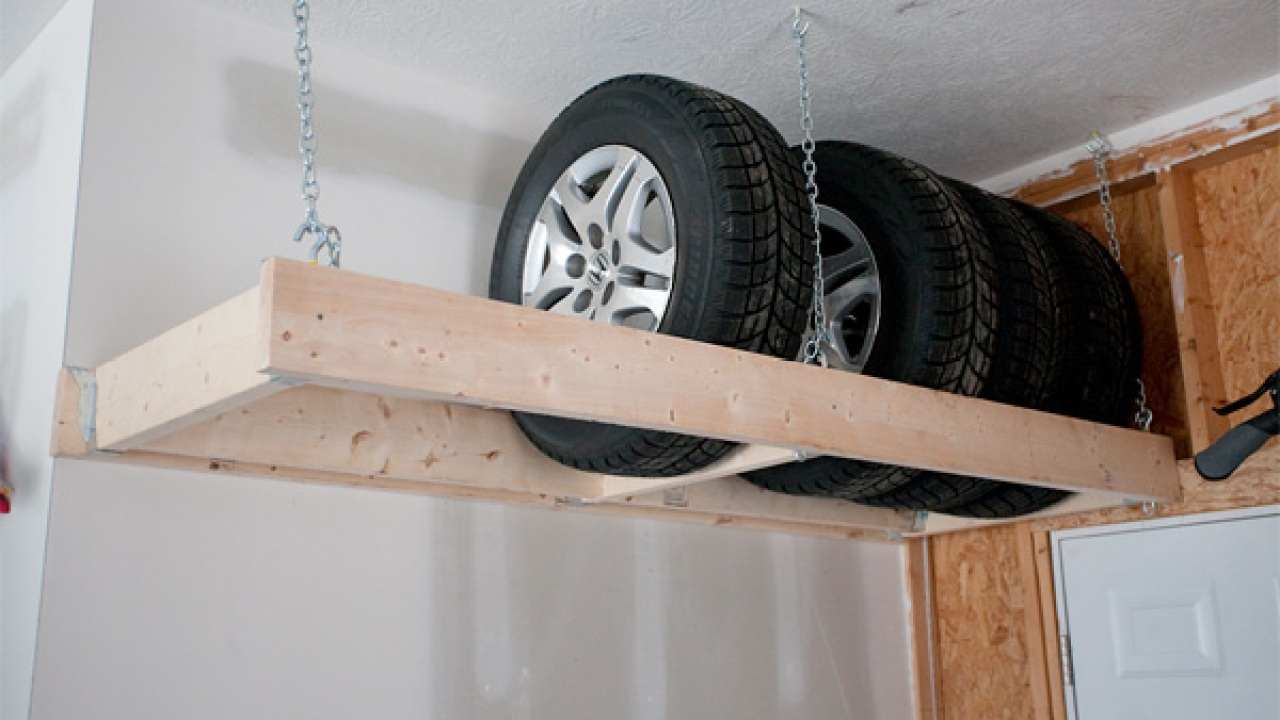Hanging Winter Tire Storage Shelf   Mudroom Ideas DIY