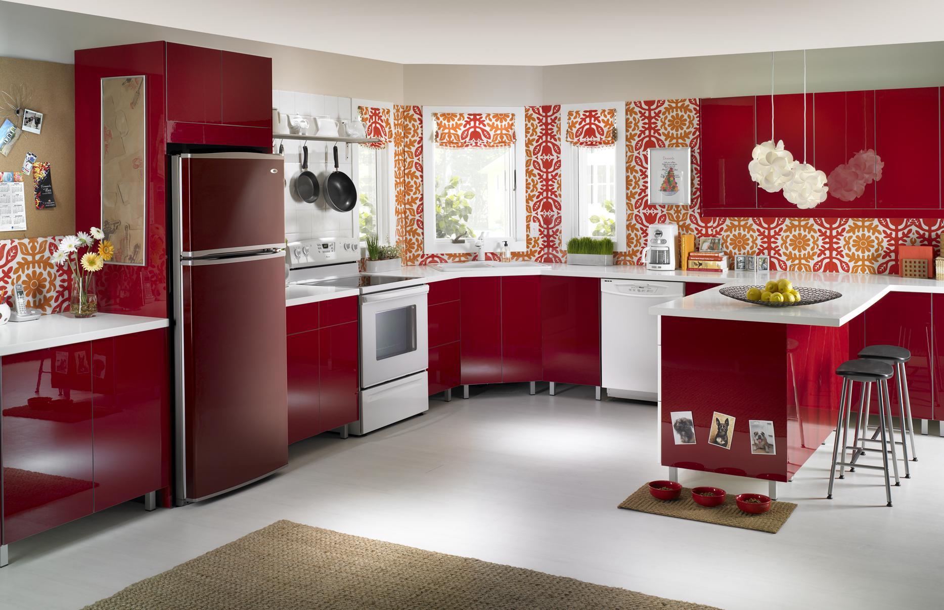 Red refrigerator in red kitchen