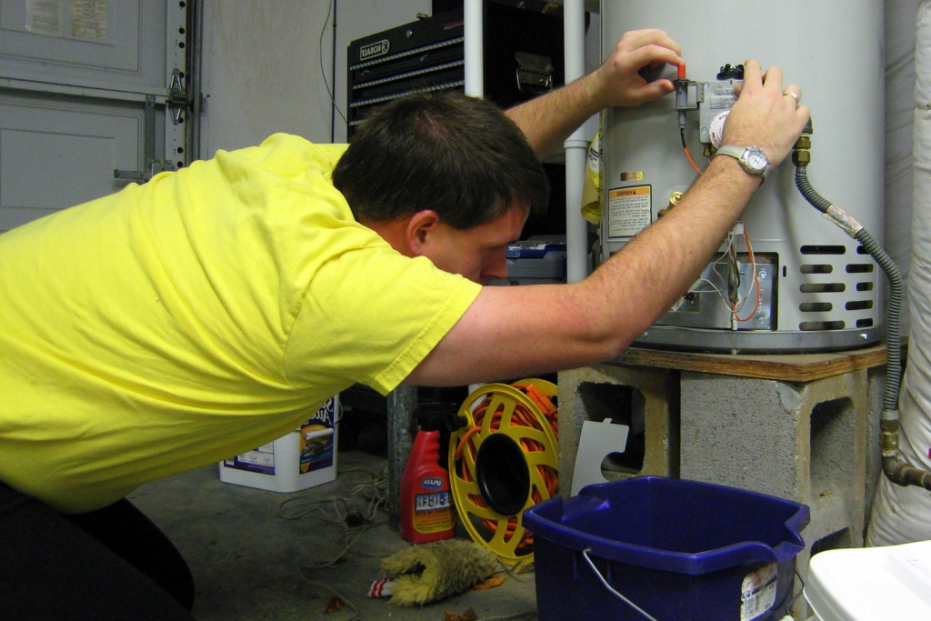 Fixing a water heater in a house