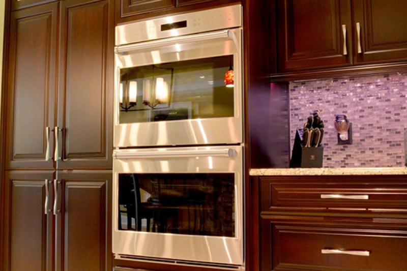 Double wall ovens in a newly renovated home kitchen