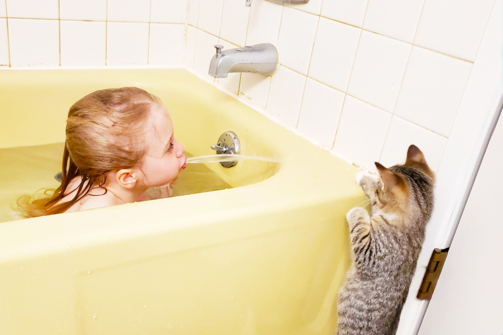 Little girl in yellow tub spitting water at tabby kitten