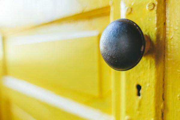 Closeup of yellow door