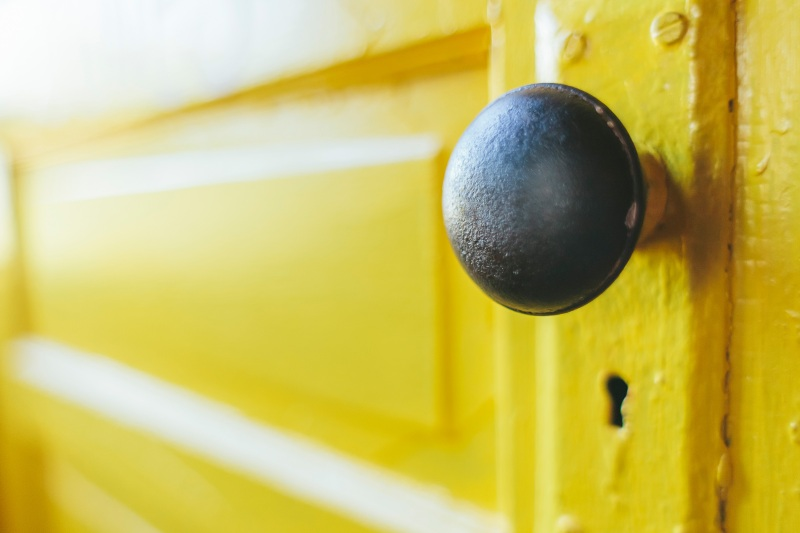 Closeup of yellow door