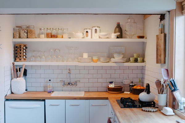 Open shelving in a kitchen   Kitchen Layout Ideas