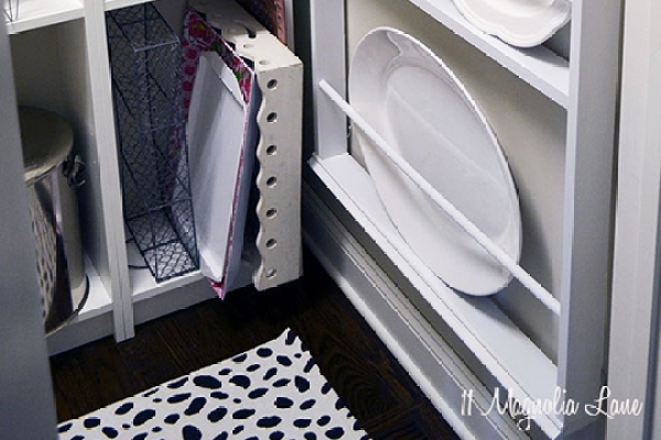 DIY plate rack for pantry organization